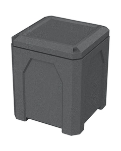 52 Gallon Dark Granite Square Trash Receptacle, Flat Lid Dust Cover
