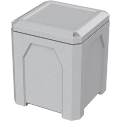 52 Gallon Light Granite Square Trash Receptacle, Flat Lid Dust Cover