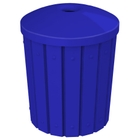 """42 Gallon Blue Slatted Recycling Receptacle, Mushroom Top 4"""" Opening"""