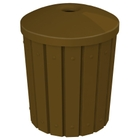 """42 Gallon Brown Slatted Recycling Receptacle, Mushroom Top 4"""" Opening"""