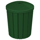 """42 Gallon Green Slatted Recycling Receptacle, Mushroom Top 4"""" Opening"""