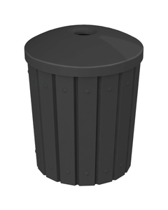 """42 Gallon Black Slatted Recycling Receptacle, Mushroom Top 4"""" Opening"""