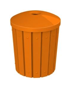 "42 Gallon Orange Slatted Recycling Receptacle, Mushroom Top 4"" Opening"