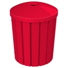 """42 Gallon Red Slatted Recycling Receptacle, Mushroom Top 4"""" Opening"""