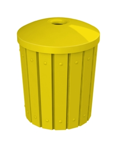 """42 Gallon Yellow Slatted Recycling Receptacle, Mushroom Top 4"""" Opening"""
