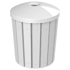 """42 Gallon White Slatted Recycling Receptacle, Mushroom Top 4"""" Opening"""