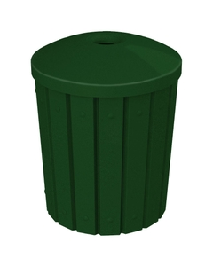 "42 Gallon Green Granite Slatted Recycling Receptacle, Mushroom Top 4"" Opening"