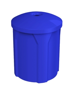 """42 Gallon Blue Recycling Receptacle, Mushroom Top 4"""" Opening"""