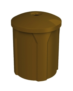 """42 Gallon Brown Recycling Receptacle, Mushroom Top 4"""" Opening"""