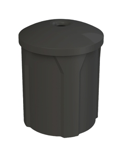 "42 Gallon Black Recycling Receptacle, Mushroom Top 4"" Opening"