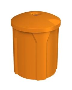 "42 Gallon Orange Recycling Receptacle, Mushroom Top 4"" Opening"