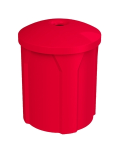 """42 Gallon Red Recycling Receptacle, Mushroom Top 4"""" Opening"""