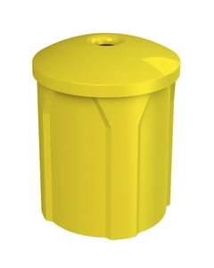 """42 Gallon Yellow Recycling Receptacle, Mushroom Top 4"""" Opening"""