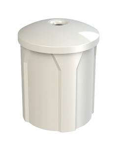 """42 Gallon White Recycling Receptacle, Mushroom Top 4"""" Opening"""