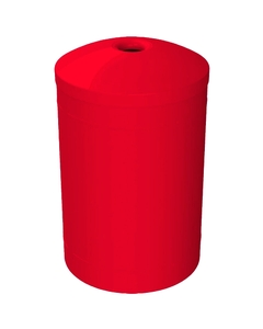 """55 Gallon Red Recycling Receptacle, Mushroom Top 4"""" Opening"""