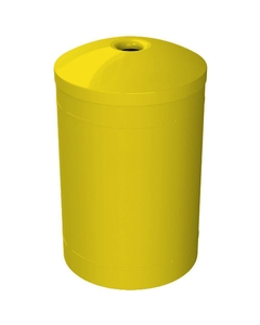 """55 Gallon Yellow Recycling Receptacle, Mushroom Top 4"""" Opening"""