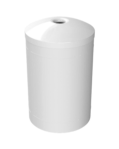 """55 Gallon White Recycling Receptacle, Mushroom Top 4"""" Opening"""