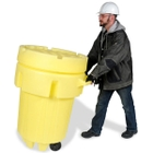 95 Gallon Wheeled Plastic Salvage Drum, Screw On Lid, UN Rated