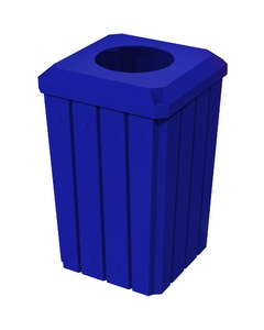 """32 Gallon Blue Slatted Square Trash Receptacle, Flat Top 11.5"""" Opening Lid"""