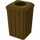 """32 Gallon Brown Slatted Square Trash Receptacle, Flat Top 11.5"""" Opening Lid"""