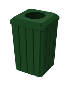 """32 Gallon Green Slatted Square Trash Receptacle, Flat Top 11.5"""" Opening Lid"""