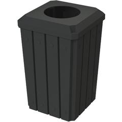 "32 Gallon Black Slatted Square Trash Receptacle, Flat Top 11.5"" Opening Lid"