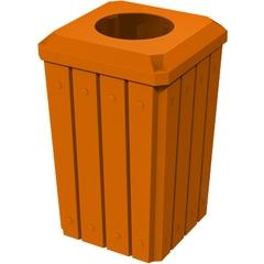 32 Gallon Orange Slatted Square Trash Receptacle, Flat Top 11.5