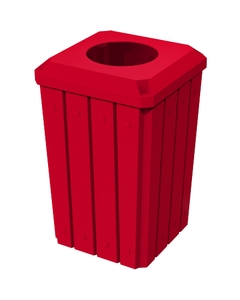 """32 Gallon Red Slatted Square Trash Receptacle, Flat Top 11.5"""" Opening Lid"""