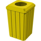 """32 Gallon Yellow Slatted Square Trash Receptacle, Flat Top 11.5"""" Opening Lid"""