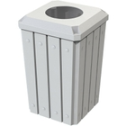 """32 Gallon White Slatted Square Trash Receptacle, Flat Top 11.5"""" Opening Lid"""