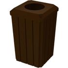 "32 Gallon Brown Granite Slatted Square Trash Receptacle, Flat Top 11.5"" Opening Lid"