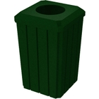 "32 Gallon Green Granite Slatted Square Trash Receptacle, Flat Top 11.5"" Opening Lid"
