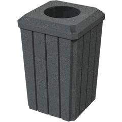 "32 Gallon Dark Granite Slatted Square Trash Receptacle, Flat Top 11.5"" Opening Lid"