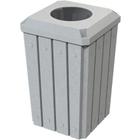 "32 Gallon Light Granite Slatted Square Trash Receptacle, Flat Top 11.5"" Opening Lid"
