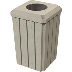 "32 Gallon Beige Granite Slatted Square Trash Receptacle, Flat Top 11.5"" Opening Lid"