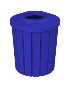"""42 Gallon Blue Slatted Trash Receptacle, Flat Top 11.5"""" Opening"""