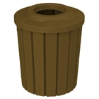 """42 Gallon Brown Slatted Trash Receptacle, Flat Top 11.5"""" Opening"""
