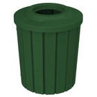 """42 Gallon Green Slatted Trash Receptacle, Flat Top 11.5"""" Opening"""