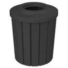 42 Gallon Black Slatted Trash Receptacle, Flat Top 11.5