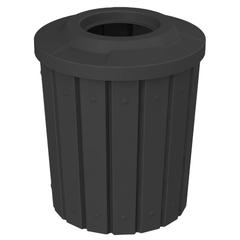 "42 Gallon Black Slatted Trash Receptacle, Flat Top 11.5"" Opening"