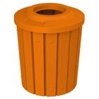 "42 Gallon Orange Slatted Trash Receptacle, Flat Top 11.5"" Opening"