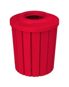 """42 Gallon Red Slatted Trash Receptacle, Flat Top 11.5"""" Opening"""