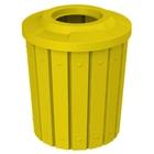 42 Gallon Yellow Slatted Trash Receptacle, Flat Top 11.5