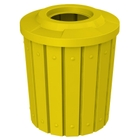 """42 Gallon Yellow Slatted Trash Receptacle, Flat Top 11.5"""" Opening"""