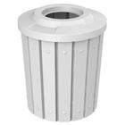 42 Gallon White Slatted Trash Receptacle, Flat Top 11.5