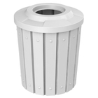 """42 Gallon White Slatted Trash Receptacle, Flat Top 11.5"""" Opening"""