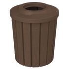 "42 Gallon Brown Granite Slatted Trash Receptacle, Flat Top 11.5"" Opening"