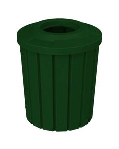 "42 Gallon Green Granite Slatted Trash Receptacle, Flat Top 11.5"" Opening"