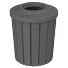 42 Gallon Dark Granite Slatted Trash Receptacle, Flat Top 11.5