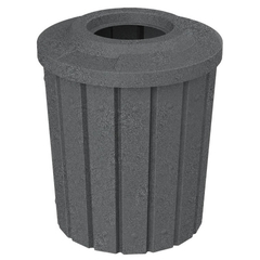 """42 Gallon Dark Granite Slatted Trash Receptacle, Flat Top 11.5"""" Opening"""